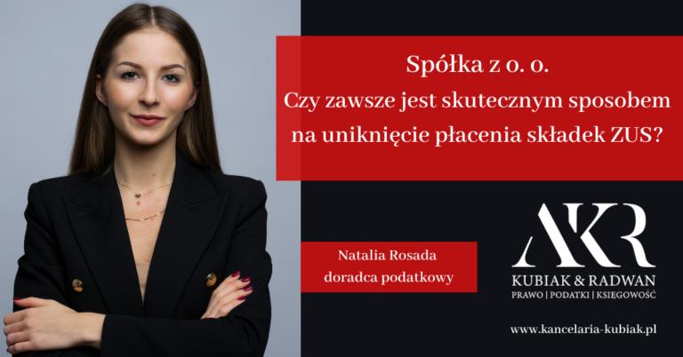 Kancelaria Usług Księgowych Agnieszka Larysa Kubiak SPÓŁKA ZOO A ZUS