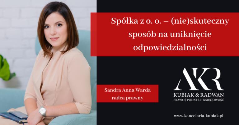 Kancelaria Usług Księgowych Agnieszka Larysa Kubiak SPÓŁKA ZOO A ODPOWIEDZIALNOŚĆ.